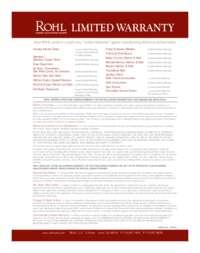 Rohl 2016 Warranty
