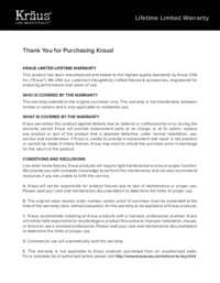 Kraus Warranty Guide