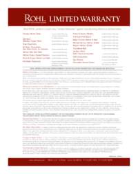 Rohl 2016 Warranty