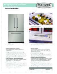 Marvel Full Size Professional 36 Inch Counter Depth French Door Refrigerator Product Spec Sheet AMPROFD23