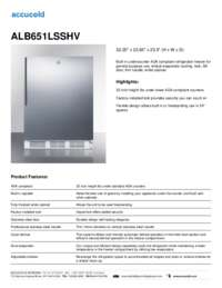 ALB651LSSHV Specifications Sheet