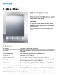 ALB651SSHH Specifications Sheet