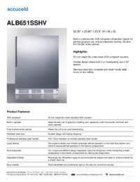 ALB651SSHV Specifications Sheet