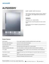 ALF620SSHV Specifications Sheet