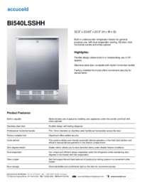 BI540LSSHH Specifications Sheet