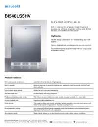BI540LSSHV Specifications Sheet