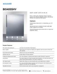 BI540SSHV Specifications Sheet