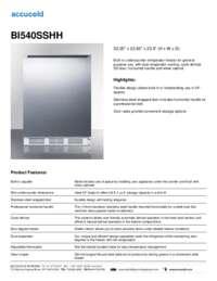 BI540SSHH Specifications Sheet