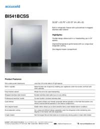BI541BCSS Specifications Sheet