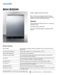 BI541BSSHH Specifications Sheet