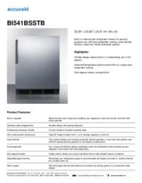 BI541BSSTB Specifications Sheet