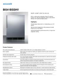 BI541BSSHV Specifications Sheet