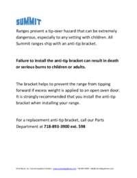 Summit Anti Tip Bracket