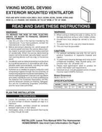 900 CFM Exterior Power Ventilator Kit   Installation Instructions