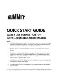 Icemaker Quick Start Instructions