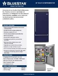 BlueStar Refrigerator  Specs