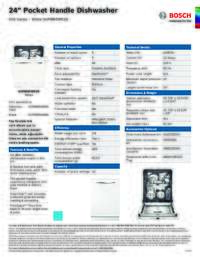 SHPM65W52N Specifications Sheet