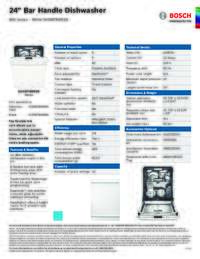 SHXM78W52N Specifications Sheet