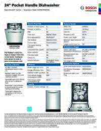 SHP87PW55N Specifications Sheet