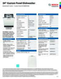 SHV88PW53N Specifications Sheet