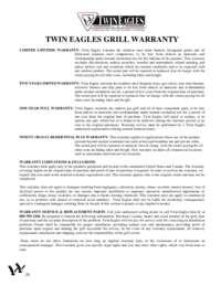 Twin Eagles Warranty