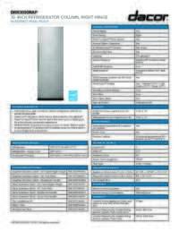 30 inch Refrigerator Spec Sheet