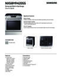 NX58M9420SS Specifications Sheet