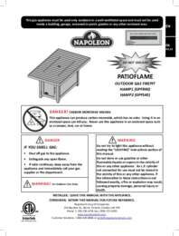 PATIOFLAME Specifications Sheet