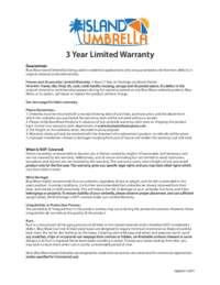 IslandUmbrella 3Yr Warranty Sunbrella