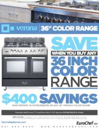 Verona - 36 Inch Color Range Rebate ($400 value)