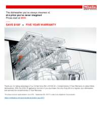 Miele - $100 Off Dishwasher Plus 5 Year Warranty