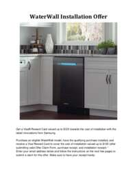 Samsung - FREE Installation on any WaterWall Dishwasher (up to $125 value)