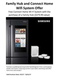 Samsung - Family Hub and Connect Home Wifi System Offer ($379.99 value)