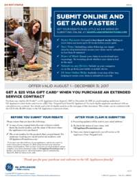 GE - Extended Service Contract Rebate ($25 value)