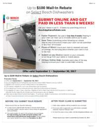 Bosch - Up To $100 Mail-In Rebate on Select Dishwashers