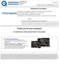 Frigidaire - December and January Rebate with Bonus up to $250