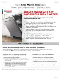 Bosch Benchmark Dishwashers Up To $200 Mail-In Rebate