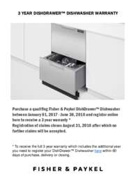 Fisher Paykel - 3 Year Dishdrawer Dishwasher Warranty