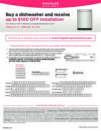 Frigidaire - Dishwasher Promotion (up to $100 OFF)
