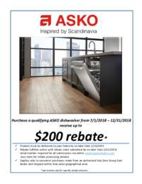 Asko - Dishwasher Rebate (Up To $200 value)