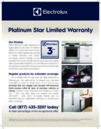 Electrolux - Platimum Star Limited Warranty