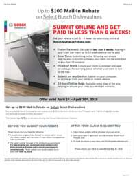 Bosch Dishwashers Up To $100 Mail-In Rebate
