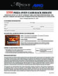 Alfresco - Pizza Oven Cash-Back Rebate ($500 value)