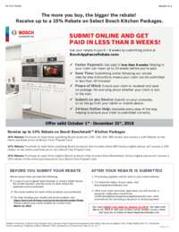 Bosch - Receive up to 15% Rebate on eligible Bosch Kitchen Packages