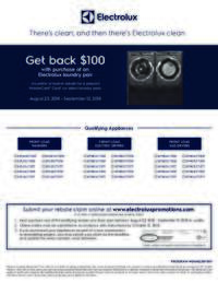 Electrolux - Laundry Pair Rebate ($100 value)