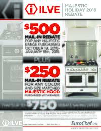 Ilve - Majestic Holiday Rebate (up to $750 value)