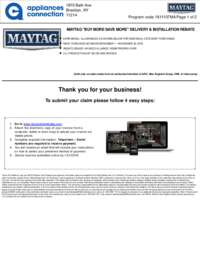 Maytag - November Rebate with Bonus Up To $425