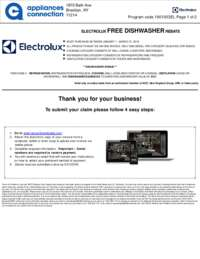 Electrolux - Free Dishwasher Rebate ($999 value)