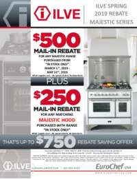 Ilve - Spring Majestic Series Rebate (up to $750 value)