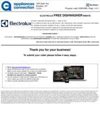Electrolux - Free Dishwasher Rebate ($999 value)